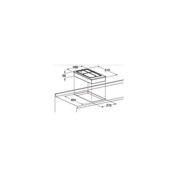 Piano cottura Domino Hotpoint DK 20S IX 2 fuochi
